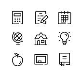 School line icons set. Modern graphic design concepts, black stroke linear symbols, simple outline elements collection. Vector line icons