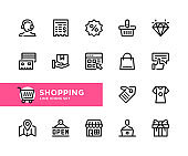 Shopping vector line icons. Simple set of outline symbols, linear stroke graphic design elements. Shopping icons set. Pixel Perfect