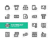 Payment vector line icons. Simple set of outline symbols, linear graphic design elements. Payment icons set. Pixel Perfect