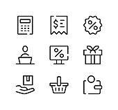 Online store line icons set. Modern graphic design concepts, black stroke linear symbols, simple outline elements collection. Vector line icons