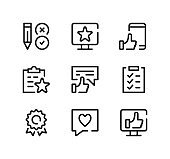 Customer satisfaction line icons set. Modern graphic design concepts, black stroke linear symbols, simple outline elements collection. Vector line icons