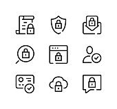 Internet security line icons set. Modern graphic design concepts, black stroke linear symbols, simple outline elements collection. Vector line icons