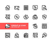 Credit and loan vector line icons. Simple set of outline symbols, linear graphic design elements. Credit and loan icons set. Pixel Perfect