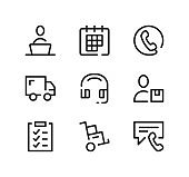 Delivery service support line icons set. Modern graphic design concepts, black stroke linear symbols, simple outline elements collection. Vector line icons