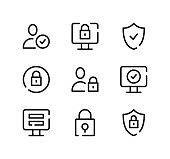 Account security line icons set. Modern graphic design concepts, black stroke linear symbols, simple outline elements collection. Vector line icons