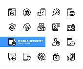 Mobile security vector line icons. Simple set of outline symbols, linear graphic design elements. Mobile security icons set. Pixel Perfect