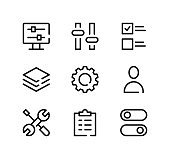 Settings line icons set. Modern graphic design concepts, black stroke linear symbols, simple outline elements collection. Vector line icons