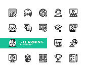 E-learning vector line icons. Simple set of outline symbols, linear graphic design elements. Elearning icons set. Pixel Perfect