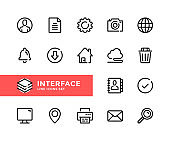 Interface vector line icons. Simple set of outline symbols, linear graphic design elements. Interface icons set. Pixel Perfect