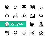 School vector line icons. Simple set of outline symbols, linear graphic design elements. School icons set. Pixel Perfect