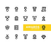 Awards line icons set. Pixel Perfect. Modern outline symbols collection. Premium quality. Thin line design. Minimal style. Simple linear stroke graphic design elements. Vector line icons