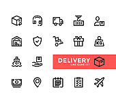 Delivery line icons set. Pixel Perfect. Modern outline symbols collection. Thin line design. Minimal style. Simple linear stroke graphic design elements. Vector line icons