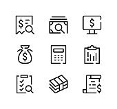 Accounting line icons set. Modern graphic design concepts, black stroke linear symbols, simple outline elements collection. Vector line icons
