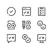 Survey line icons set. Modern graphic design concepts, black stroke linear symbols, simple outline elements collection. Vector line icons