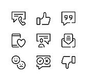 Feedback line icons set. Modern graphic design concepts, black stroke linear symbols, simple outline elements collection. Vector line icons