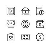 Financial line icons set. Modern graphic design concepts, black stroke linear symbols, simple outline elements collection. Vector line icons