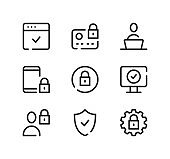 Cybersecurity line icons set. Modern graphic design concepts, black stroke linear symbols, simple outline elements collection. Vector line icons