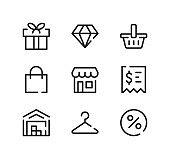 Retail line icons set. Modern graphic design concepts, black stroke linear symbols, simple outline elements collection. Vector line icons