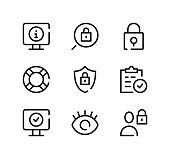 Security line icons set. Modern graphic design concepts, black stroke linear symbols, simple outline elements collection. Vector line icons