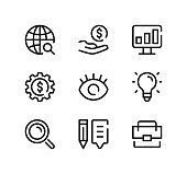 SEO line icons set. Modern graphic design concepts, black stroke linear symbols, simple outline elements collection. Vector line icons