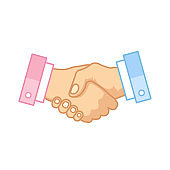 Handshake icon. Deal, agreement, contract, partnership concepts. Outline symbol. Modern flat line design. Vector icon