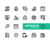 Approve line icons set. Pixel Perfect. Approve, confirmation, check mark, tick, verification, approval concepts. Modern outline symbols collection. Thin line design. Minimal style. Simple linear stroke graphic design elements. Vector line icons