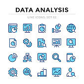 Data analysis vector line icons set. Thin line design. Outline graphic elements, simple stroke symbols. Data analysis icons