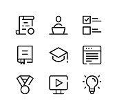 Online education line icons set. Modern graphic design concepts, black stroke linear symbols, simple outline elements collection. Vector line icons