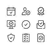 Check mark line icons set. Modern graphic design concepts, black stroke linear symbols, simple outline elements collection. Vector line icons