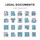 Legal documents vector line icons set. Thin line design. Outline graphic elements, simple stroke symbols. Legal documents icons