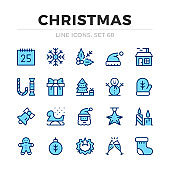 Christmas vector line icons set. Thin line design. Outline graphic elements, simple stroke symbols. Christmas icons