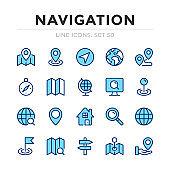 Navigation vector line icons set. Thin line design. Outline graphic elements, simple stroke symbols. Navigation icons