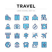Travel vector line icons set. Thin line design. Outline graphic elements, simple stroke symbols. Travel icons