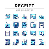 Receipt vector line icons set. Thin line design. Outline graphic elements, simple stroke symbols. Receipt icons