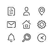 Basic line icons set. Modern graphic design concepts, black stroke linear symbols, simple outline elements collection. Vector line icons