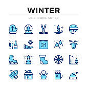 Winter vector line icons set. Thin line design. Outline graphic elements, simple stroke symbols. Winter icons