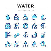 Water vector line icons set. Thin line design. Outline graphic elements, simple stroke symbols. Water icons