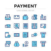 Payment vector line icons set. Thin line design. Outline graphic elements, simple stroke symbols. Payment icons
