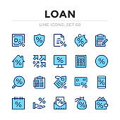 Loan vector line icons set. Thin line design. Outline graphic elements, simple stroke symbols. Loan icons