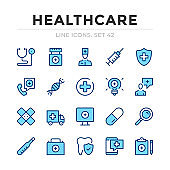 Healthcare vector line icons set. Thin line design. Outline graphic elements, simple stroke symbols. Healthcare icons