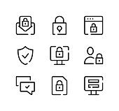 Computer security line icons set. Modern graphic design concepts, black stroke linear symbols, simple outline elements collection. Vector line icons