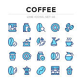 Coffee vector line icons set. Thin line design. Outline graphic elements, simple stroke symbols. Coffee icons