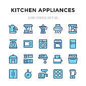 Kitchen appliances vector line icons set. Thin line design. Outline graphic elements, simple stroke symbols. Kitchen appliances icons