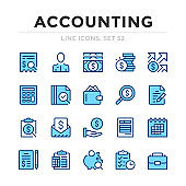 Accounting vector line icons set. Thin line design. Outline graphic elements, simple stroke symbols. Accounting icons