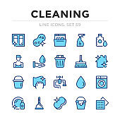 Cleaning vector line icons set. Thin line design. Outline graphic elements, simple stroke symbols. Cleaning icons