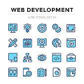 Web development vector line icons set. Thin line design. Outline graphic elements, simple stroke symbols. Web development icons