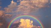 rainbow in cloudy sky