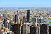 New York City's famous skyscrapers. Urban landscape  from bird 's flight