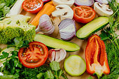 Set of slices of vegetables, Healthy fresh rainbow colored vegetables in a row
