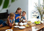 Happy mother drinking tea with cute daughters at home